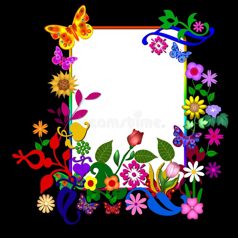 ζωηρόχρωμο πλαίσιο λουλουδιών διανυσματική απεικόνιση