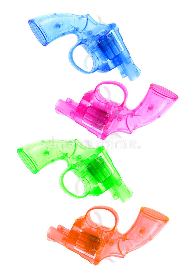ζωηρόχρωμο πλαστικό παιχνίδι πυροβόλων όπλων στοκ εικόνα