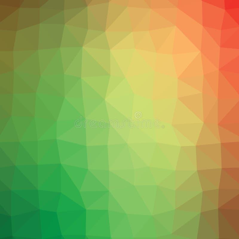 Ζωηρόχρωμο πράσινο και πορτοκαλί αφηρημένο γεωμετρικό χαμηλό πολυ γραφικό υπόβαθρο απεικόνισης ύφους απεικόνιση αποθεμάτων