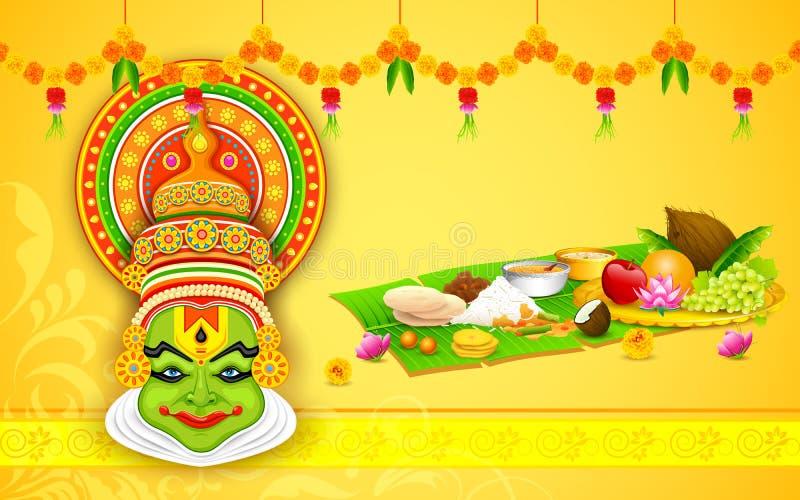 Ζωηρόχρωμο πρόσωπο Kathakali διανυσματική απεικόνιση