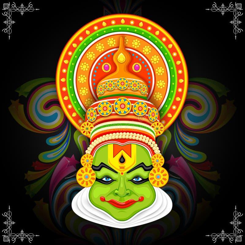 Ζωηρόχρωμο πρόσωπο Kathakali απεικόνιση αποθεμάτων