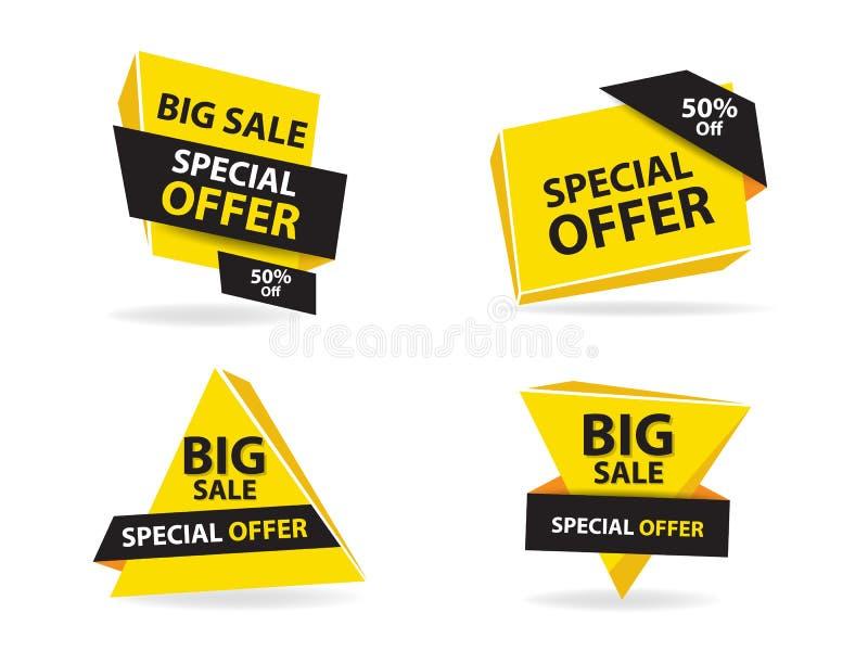 Ζωηρόχρωμο πρότυπο εμβλημάτων πώλησης αγορών, συλλογή εμβλημάτων πώλησης έκπτωσης διανυσματική απεικόνιση