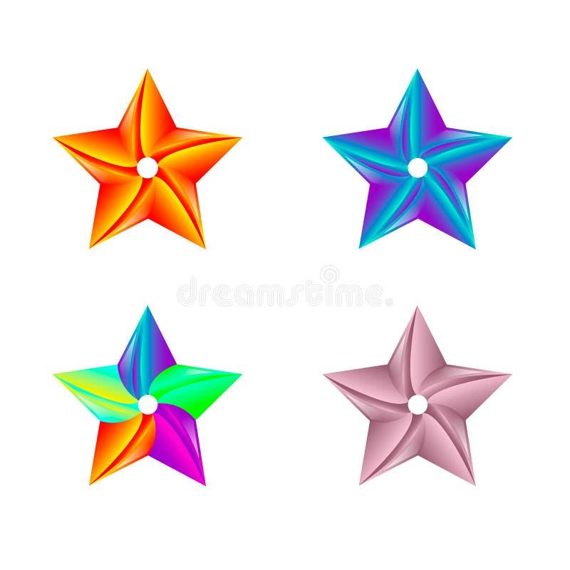 Ζωηρόχρωμο πρότυπο λογότυπων αστεριών o r διανυσματική απεικόνιση