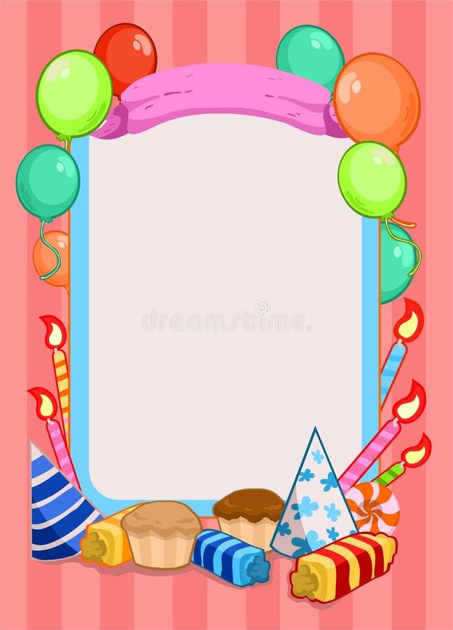 Ζωηρόχρωμο πρότυπο πρόσκλησης γιορτής γενεθλίων ελεύθερη απεικόνιση δικαιώματος