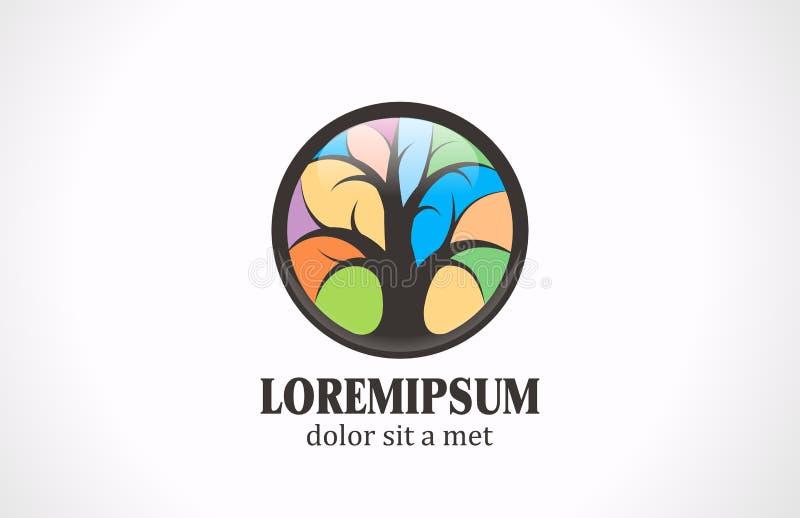 Ζωηρόχρωμο πρότυπο σχεδίου λογότυπων δέντρων διανυσματικό. Λεκιασμένος διανυσματική απεικόνιση