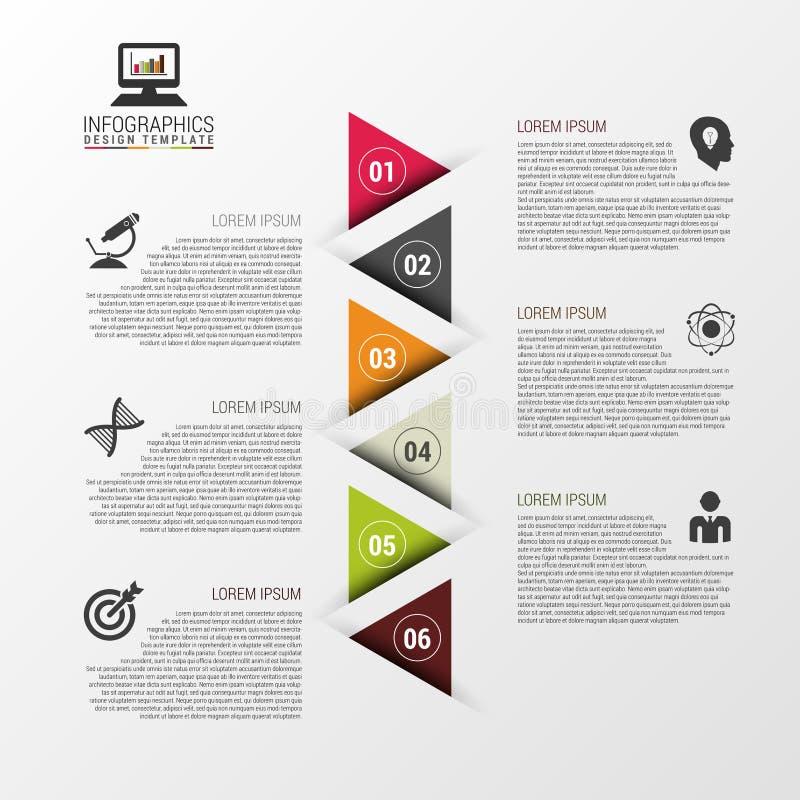 Ζωηρόχρωμο πρότυπο σχεδίου Infographic με τα τρίγωνα infographic έννοια επίσης corel σύρετε το διάνυσμα απεικόνισης διανυσματική απεικόνιση