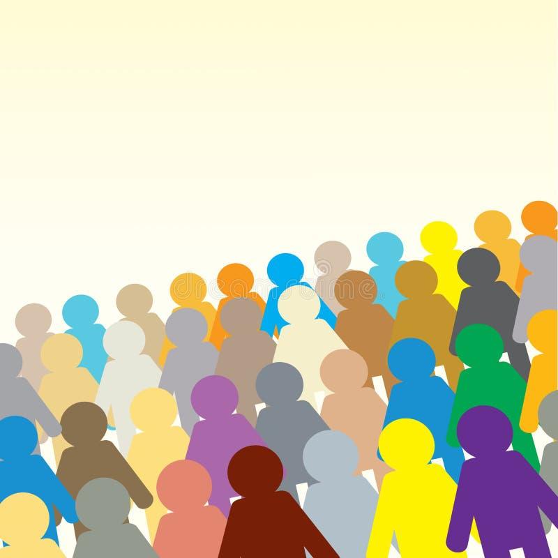 Ζωηρόχρωμο πλήθος με ένα διάστημα αντιγράφων διανυσματική απεικόνιση