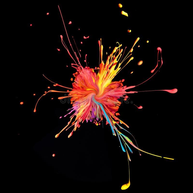 Ζωηρόχρωμο ράντισμα χρωμάτων στο Μαύρο. στοκ φωτογραφία με δικαίωμα ελεύθερης χρήσης