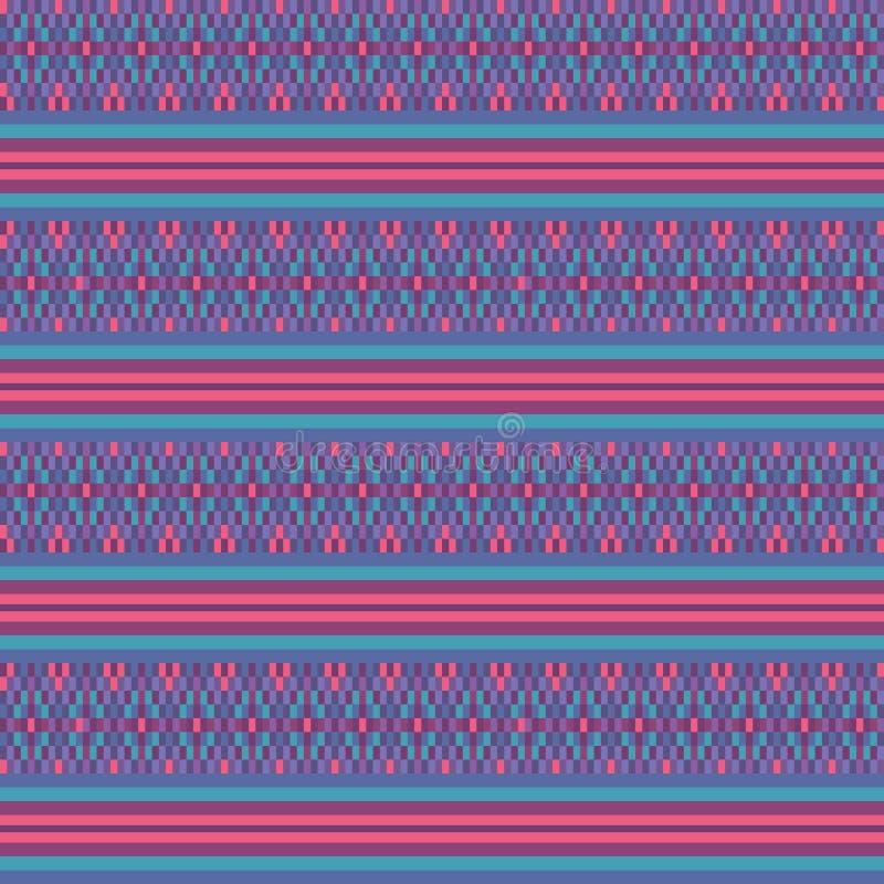 Ζωηρόχρωμο ρόδινο υφαμένο τυρκουάζ εθνικό γεωμετρικό ριγωτό άνευ ραφής διανυσματικό υπόβαθρο σχεδίων για το ύφασμα, ταπετσαρία διανυσματική απεικόνιση