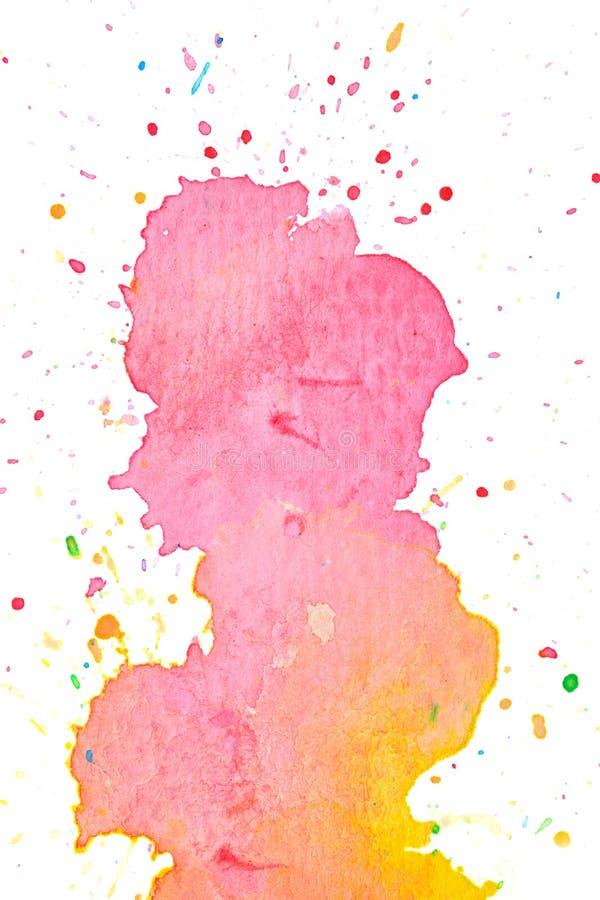 Ζωηρόχρωμο ρόδινο κίτρινο υπόβαθρο ζωγραφικής watercolor κρητιδογραφιών απεικόνιση αποθεμάτων