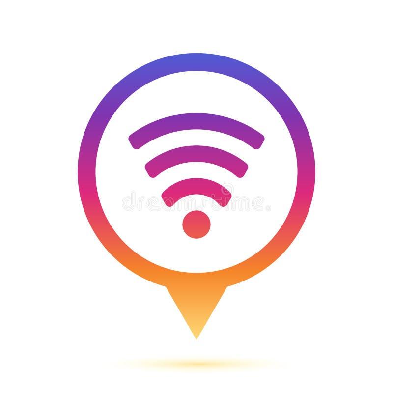 Ζωηρόχρωμο σημάδι wifi στο εικονίδιο καρφιτσών κύκλων στοκ εικόνα με δικαίωμα ελεύθερης χρήσης
