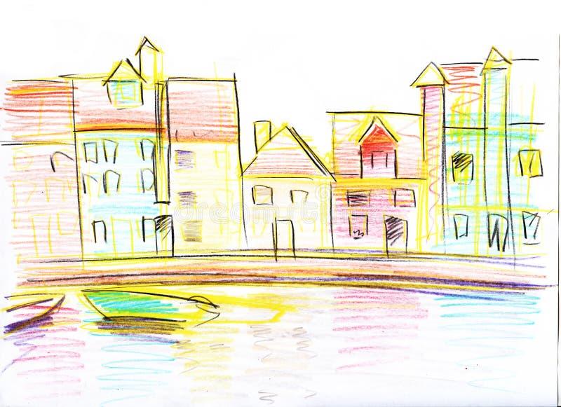 Ζωηρόχρωμο σκίτσο μολυβιών των ενετικών σπιτιών συρμένος εικονογράφος απεικόνισης χεριών ξυλάνθρακα βουρτσών ο σχέδιο όπως το βλέ ελεύθερη απεικόνιση δικαιώματος