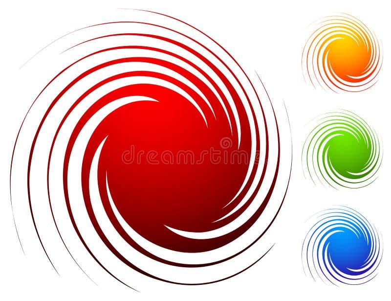 Ζωηρόχρωμο σπειροειδές σύνολο Αφηρημένος στρόβιλος, twirl στοιχεία σχεδίου με απεικόνιση αποθεμάτων