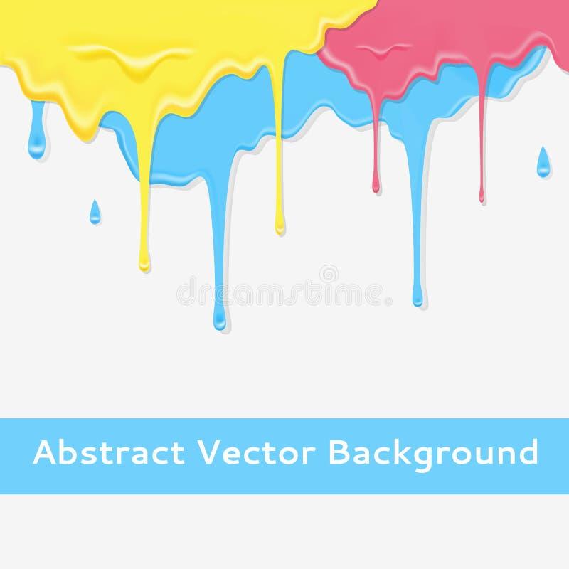 Ζωηρόχρωμο στάζοντας υπόβαθρο χρωμάτων στο χρώμα τρία διανυσματική απεικόνιση