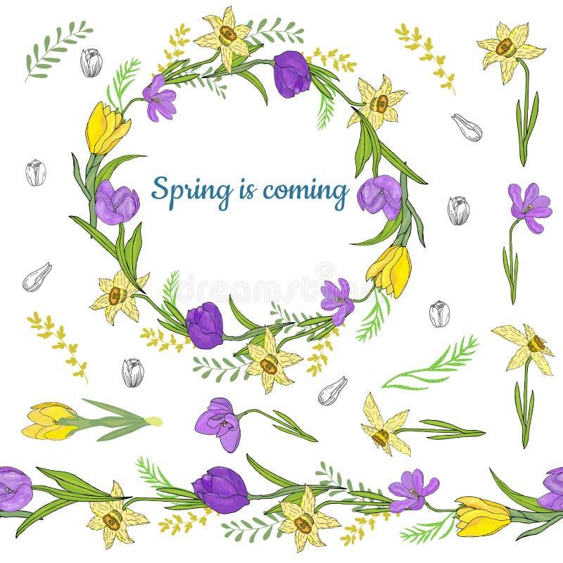 Ζωηρόχρωμο στεφάνι από τα διάφορα λουλούδια άνοιξη Ατελείωτη οριζόντια βούρτσα Άνευ ραφής οριζόντια σύνορα διανυσματική απεικόνιση