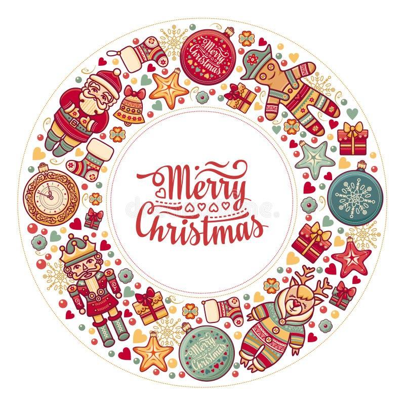 Ζωηρόχρωμο στεφάνι Χριστουγέννων με τα παιχνίδια Χριστουγέννων ελεύθερη απεικόνιση δικαιώματος