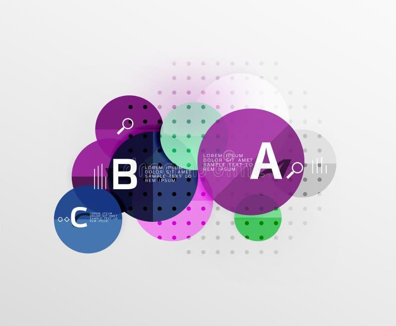 Ζωηρόχρωμο στιλπνό infographics κύκλων διανυσματική απεικόνιση
