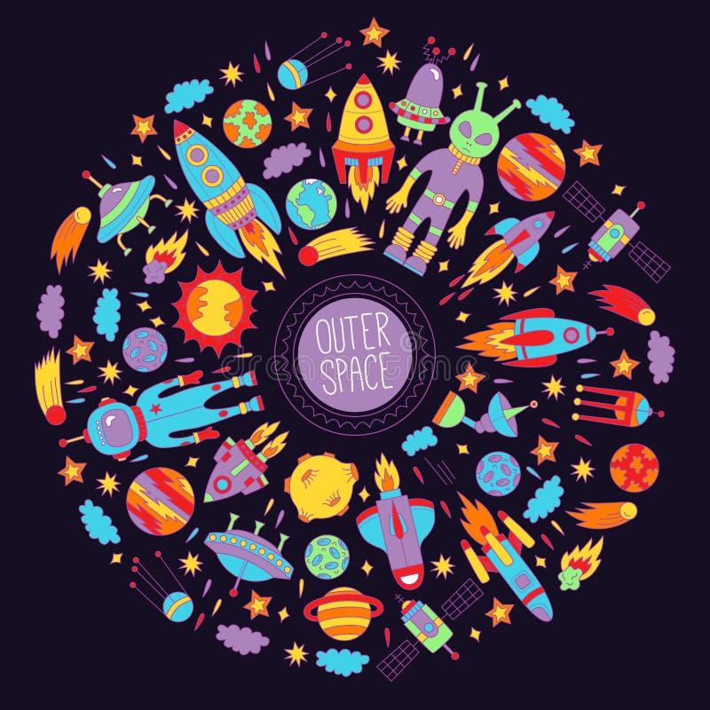 Ζωηρόχρωμο στρογγυλό σύνολο εικονιδίων μακρινού διαστήματος doodle ελεύθερη απεικόνιση δικαιώματος