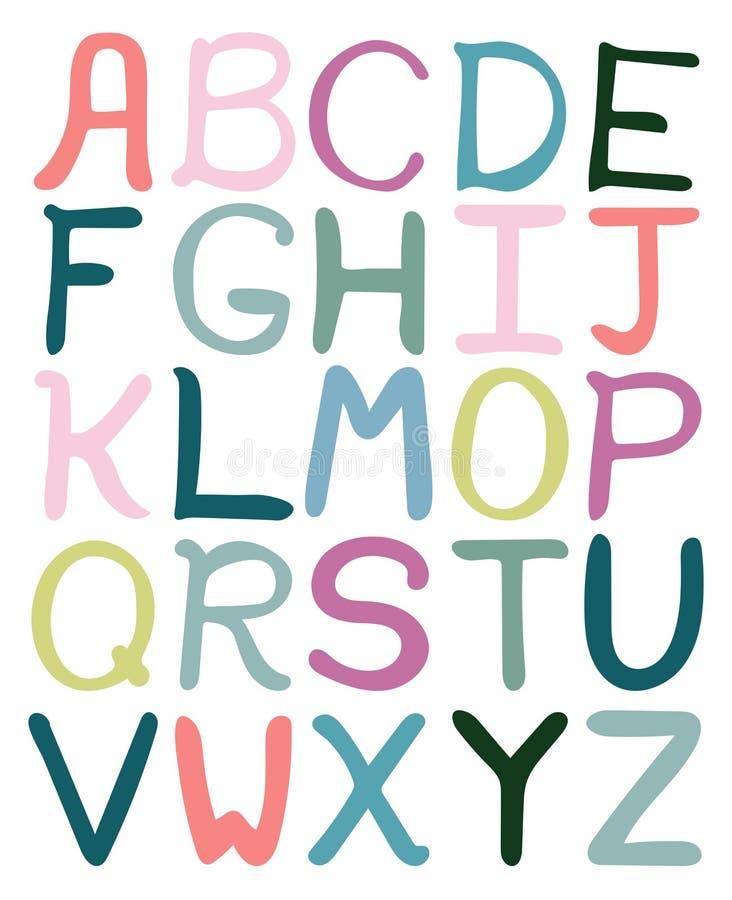 Ζωηρόχρωμο συρμένο χέρι αφηρημένο αλφάβητο διανυσματική απεικόνιση