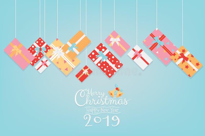 Ζωηρόχρωμο σχέδιο εμβλημάτων Χριστουγέννων με το χειρόγραφο χεριών ένωσης και καλλιγραφίας δώρων με το διάστημα αντιγράφων διανυσματική απεικόνιση