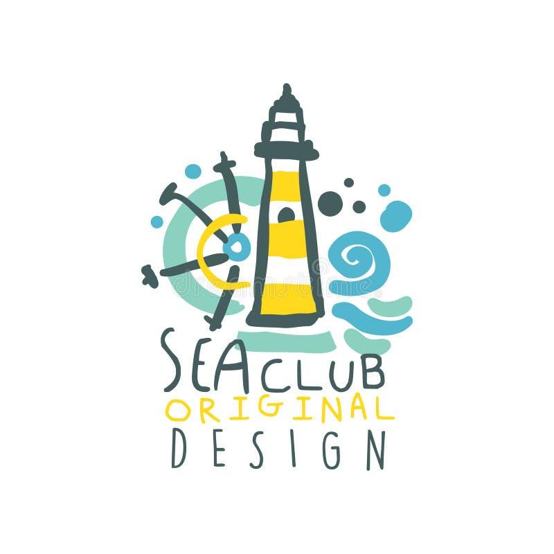 Ζωηρόχρωμο σχέδιο λογότυπων λεσχών γιοτ ή θάλασσας με το φάρο, το τιμόνι σκαφών και τα κύματα Συρμένη χέρι διανυσματική απεικόνισ ελεύθερη απεικόνιση δικαιώματος