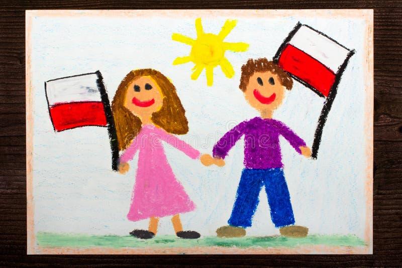 Ζωηρόχρωμο σχέδιο: Χαμογελώντας παιδιά, αγόρι και κορίτσι, κυματίζοντας πολωνικές σημαίες στοκ εικόνα