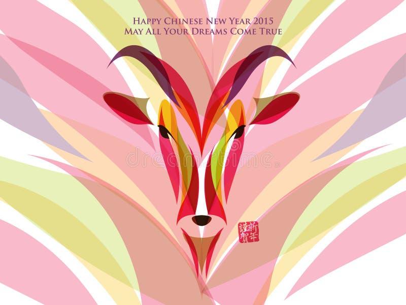 Ζωηρόχρωμο σχέδιο αιγών Μετάφραση: Ευτυχές κινεζικό νέο έτος ελεύθερη απεικόνιση δικαιώματος