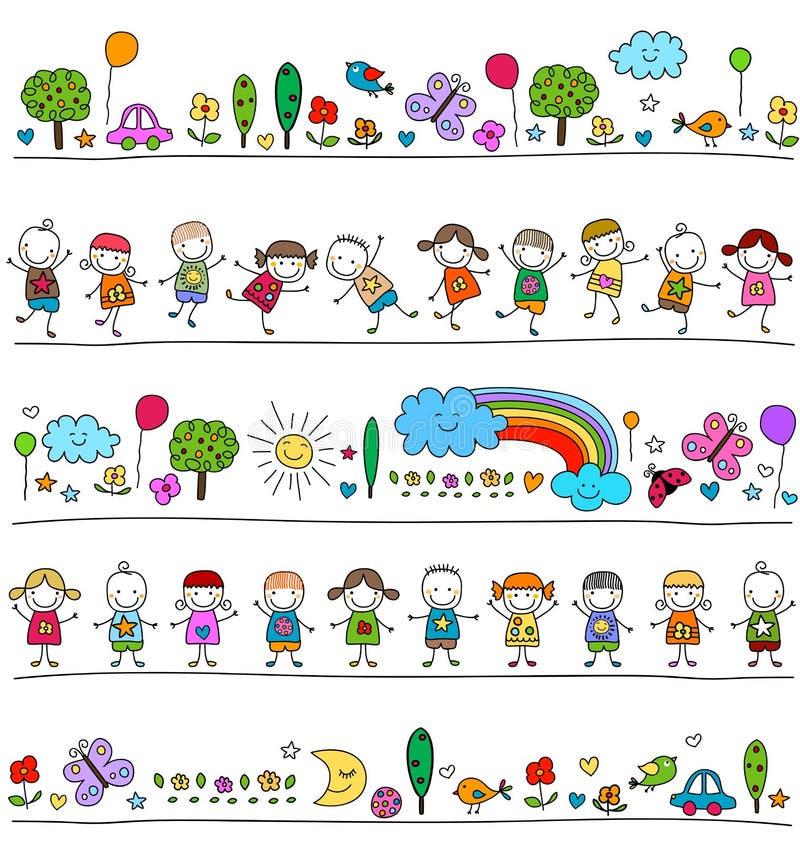 Ζωηρόχρωμο σχέδιο με τα παιδιά και τα χαριτωμένα στοιχεία φύσης διανυσματική απεικόνιση