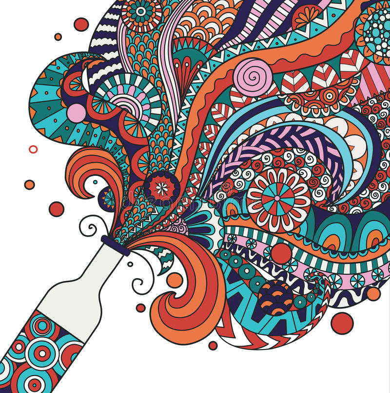 Ζωηρόχρωμο σχέδιο τέχνης γραμμών μπουκαλιών σαμπάνιας για την αφίσα, έμβλημα, απεικόνιση απόθεμα διανυσματική απεικόνιση