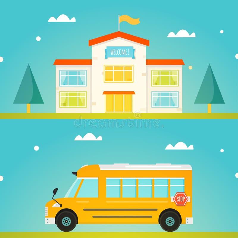 Ζωηρόχρωμο σχολικό κτίριο με το ευπρόσδεκτο σημάδι Σύγχρονο κίτρινο σχολικό λεωφορείο ελεύθερη απεικόνιση δικαιώματος