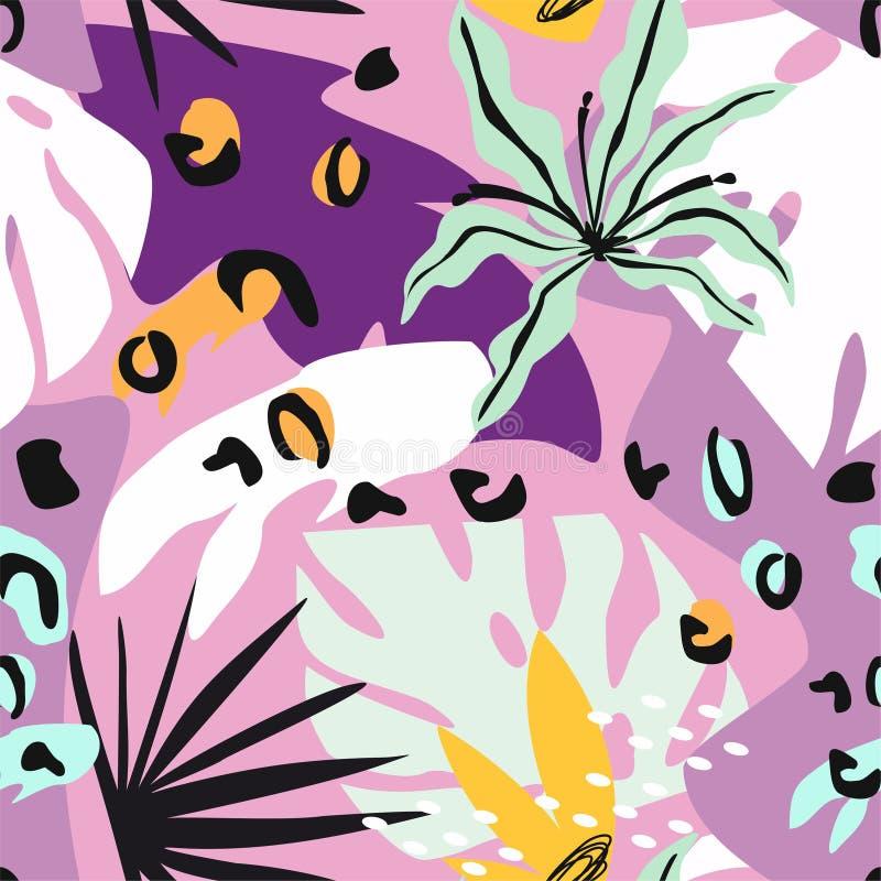 Ζωηρόχρωμο σύγχρονο αφηρημένο floral κολάζ με διάφορο των εγκαταστάσεων και του γεωμετρικού άνευ ραφής σχεδίου μορφών o διανυσματική απεικόνιση