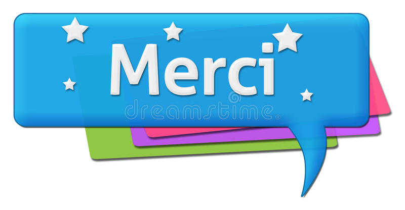 Ζωηρόχρωμο σύμβολο σχολίου Merci απεικόνιση αποθεμάτων