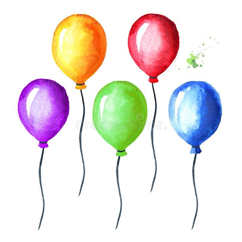 Ζωηρόχρωμο σύνολο μπαλονιών Συρμένη χέρι απεικόνιση Watercolor, που απομονώνεται στο άσπρο υπόβαθρο στοκ φωτογραφία με δικαίωμα ελεύθερης χρήσης