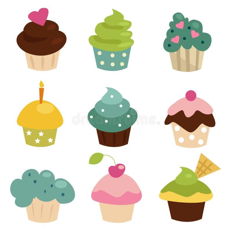 Download ζωηρόχρωμο σύνολο cupcake διανυσματική απεικόνιση. εικονογραφία από κρέμα - 18302792