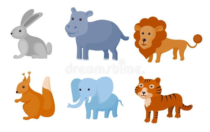 Ζωηρόχρωμο σύνολο άγριων ζώων ζωολογικών κήπων επίσης corel σύρετε το διάνυσμα απεικόνισης διανυσματική απεικόνιση