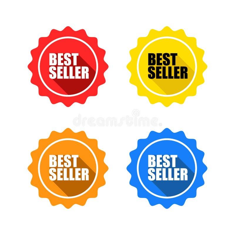 Ζωηρόχρωμο σύνολο ετικετών γραμματοσήμων καλύτερων πωλητών διανυσματική απεικόνιση