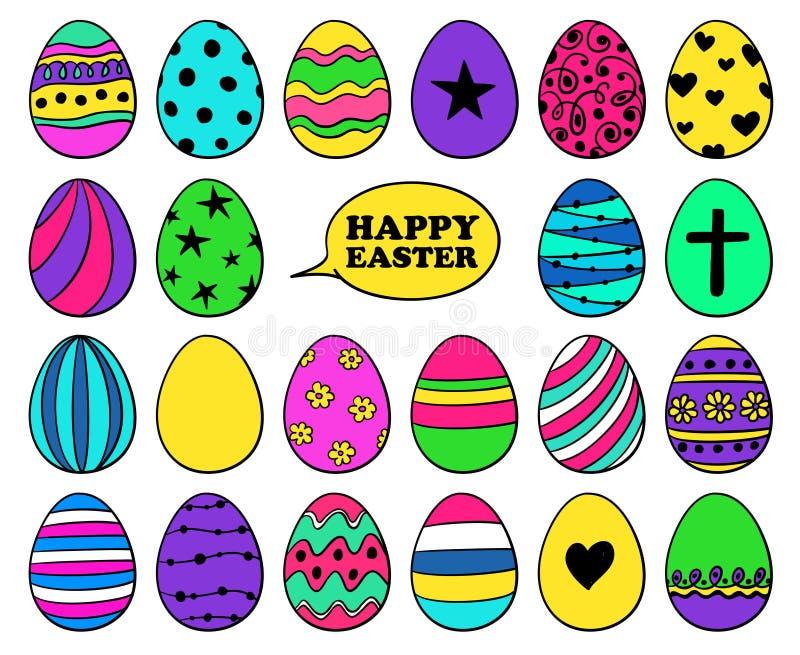 Ζωηρόχρωμο σύνολο κινούμενων σχεδίων εικονιδίων αυγών Πάσχας απεικόνιση αποθεμάτων