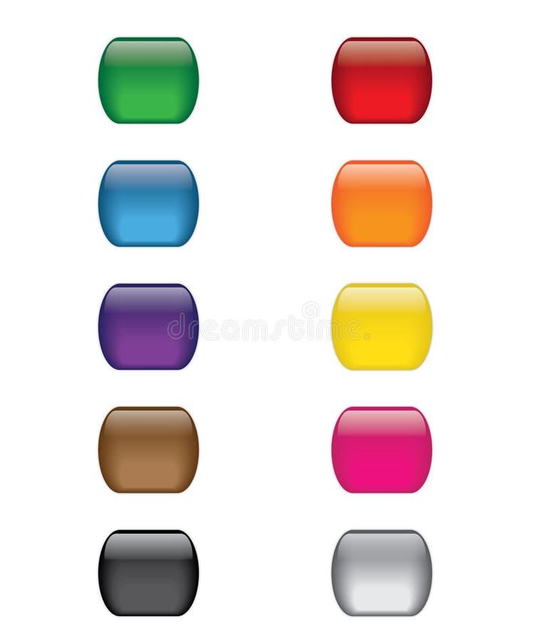 Ζωηρόχρωμο σύνολο κουμπιών εικονιδίων Ιστού γυαλιού διανυσματική απεικόνιση