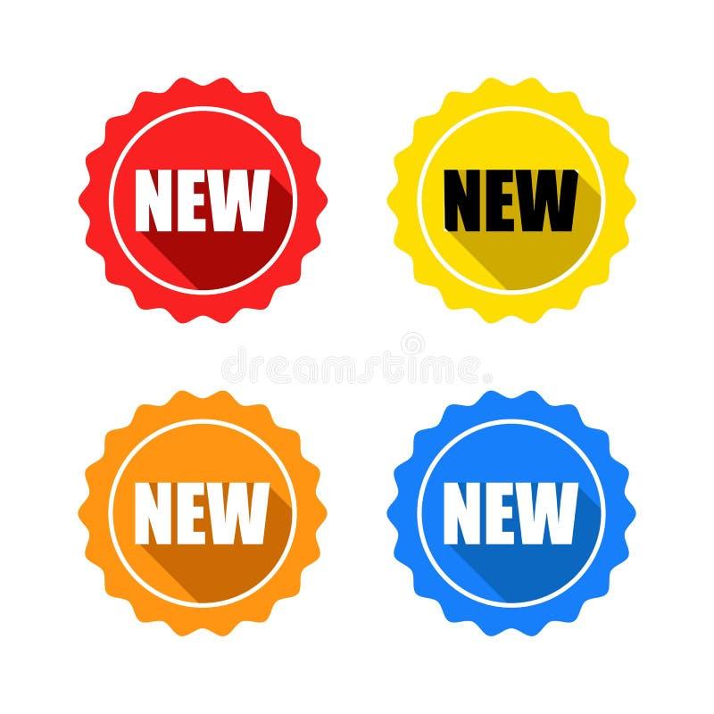 Ζωηρόχρωμο σύνολο νέων ετικετών γραμματοσήμων διανυσματική απεικόνιση