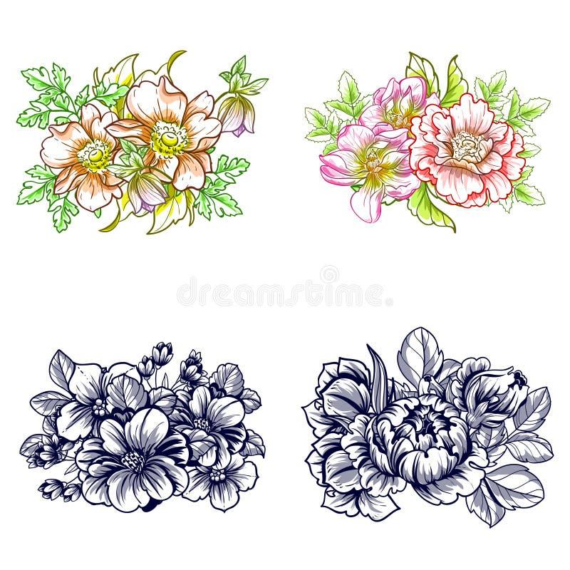 Download ζωηρόχρωμο σύνολο λουλουδιών στοιχείων σχεδίου Διανυσματική απεικόνιση - εικονογραφία από σχέδιο, πράσινος: 62721129