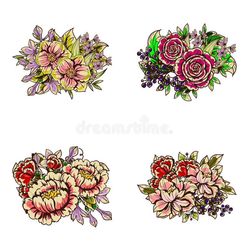 Download ζωηρόχρωμο σύνολο λουλουδιών στοιχείων σχεδίου Διανυσματική απεικόνιση - εικονογραφία από φύλλο, editable: 62723463