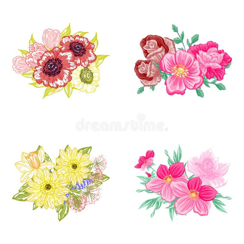 Download ζωηρόχρωμο σύνολο λουλουδιών στοιχείων σχεδίου Διανυσματική απεικόνιση - εικονογραφία από χρώμα, πράσινος: 62724021