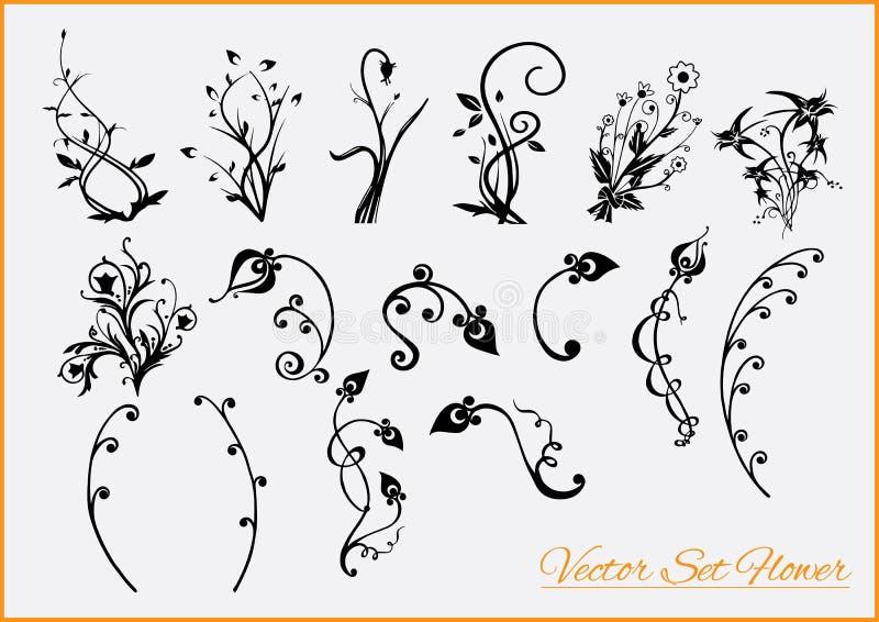 ζωηρόχρωμο σύνολο λουλουδιών στοιχείων σχεδίου στοκ εικόνα με δικαίωμα ελεύθερης χρήσης