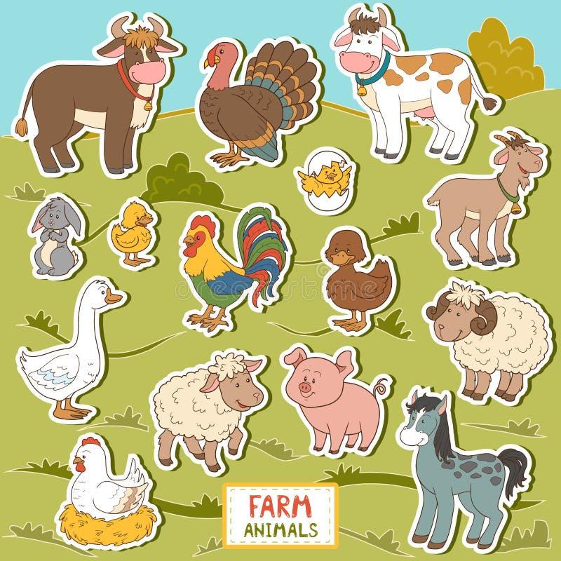 Ζωηρόχρωμο σύνολο χαριτωμένων ζώων αγροκτημάτων και αντικειμένων, διανυσματικές αυτοκόλλητες ετικέττες διανυσματική απεικόνιση