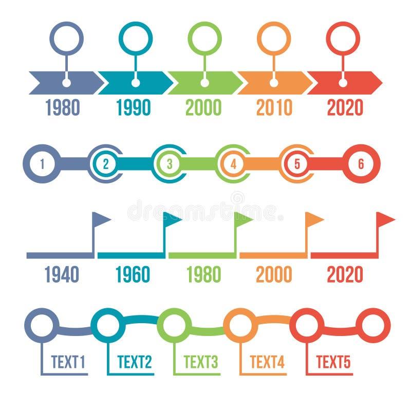 Ζωηρόχρωμο σύνολο Infographic υπόδειξης ως προς το χρόνο απεικόνιση αποθεμάτων