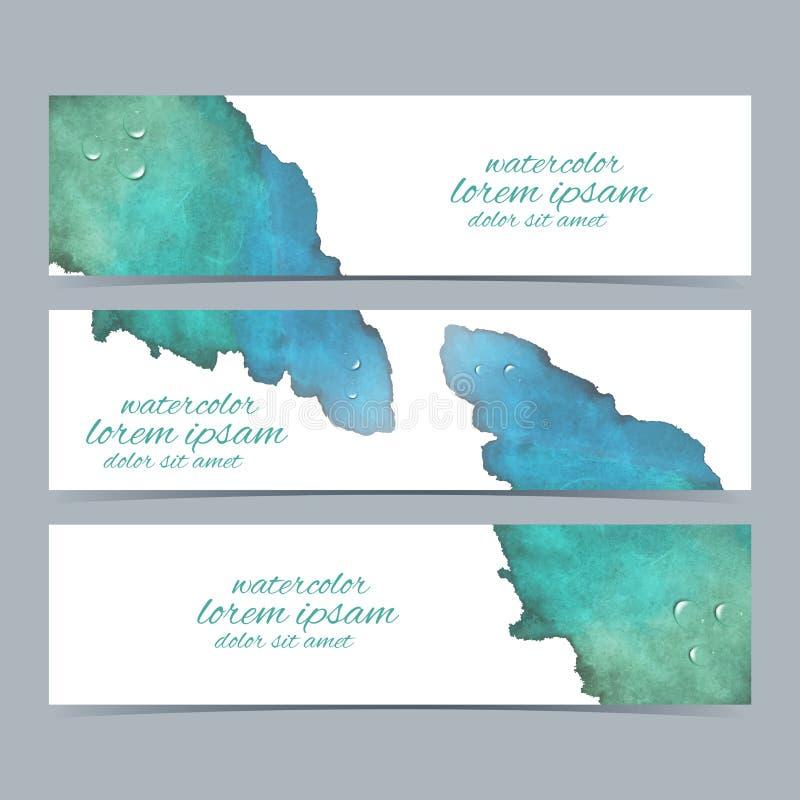 Ζωηρόχρωμο σύνολο Watercolors διανυσματικών εμβλημάτων για απεικόνιση αποθεμάτων