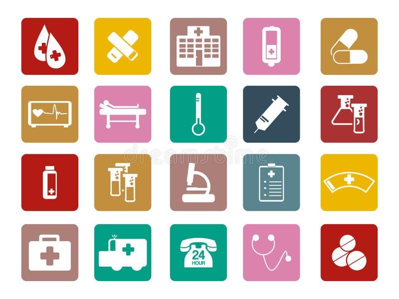 Ζωηρόχρωμο τετραγωνικό εικονίδιο εξοπλισμού εργαλείων νοσοκομείων γιατρών ιατρικό ελεύθερη απεικόνιση δικαιώματος
