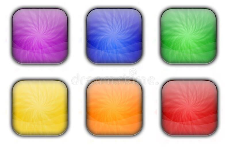 Ζωηρόχρωμο τετραγωνικό σύνολο κουμπιών εικονιδίων Ιστού γυαλιού στιλπνό ελεύθερη απεικόνιση δικαιώματος