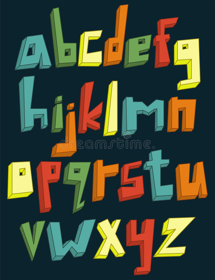 Ζωηρόχρωμο τρισδιάστατο πεζό αλφάβητο ελεύθερη απεικόνιση δικαιώματος