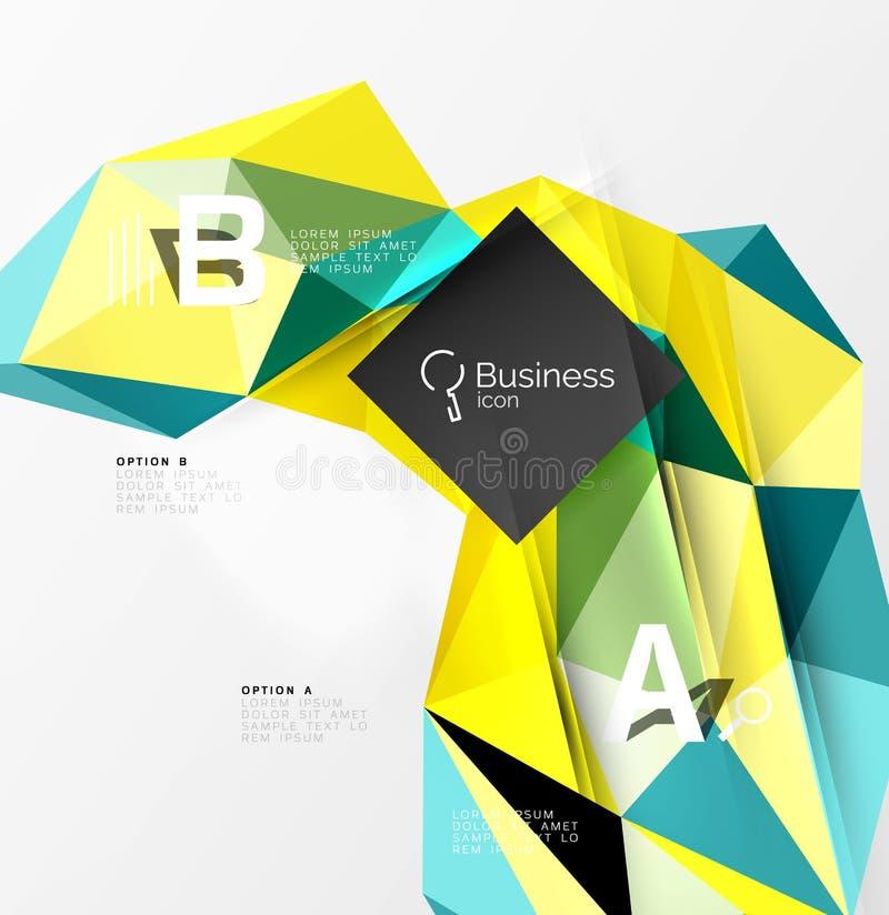 Ζωηρόχρωμο τρισδιάστατο γεωμετρικό αντικείμενο μωσαϊκών τριγώνων με το infographics διανυσματική απεικόνιση